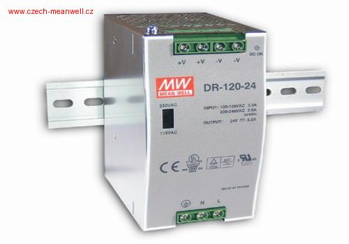 DR-120-24 Mean Well Zdroj na DIN 120W 24V