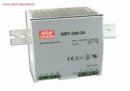 DRT-240-24 Mean Well Zdroj na DIN 240W 24V 3f