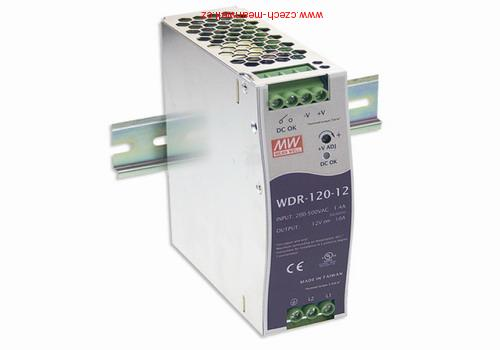 WDR-120-24 Mean Well Zdroj na DIN 120W 24V 1+2f