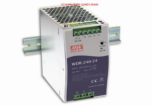 WDR-240-24 Mean Well Zdroj na DIN 240W 24V 1+2f