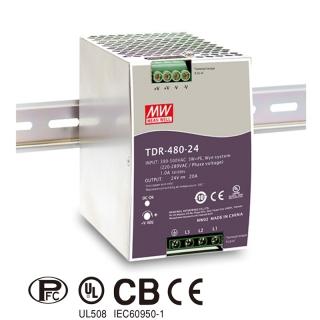 TDR-480-24 Mean Well Zdroj na DIN 480W 24V 3f